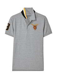 Giordano Short Sleeve Deer Embroidery Polo Shirt for Men, Extra Large, Grey