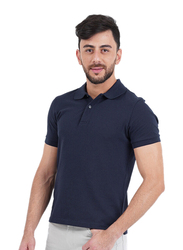 Giordano Solid Performance Short Sleeve Polo Shirt for Men, Small, Navy Blue