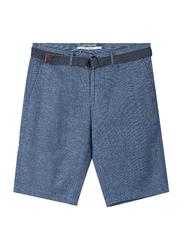Giordano Slim Fit Linen Shorts with Belt for Men, 29 US, Light Blue