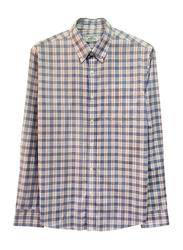 Giordano Wrinkle Free Long Sleeve Shirt for Men, Small, White/Navy/Orange