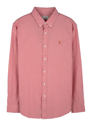 Giordano Oxford Long Sleeve Shirt for Men, Small, Light Orange
