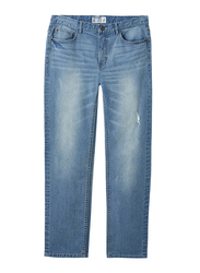 Giordano Low Rise Slim Tapered Denim Pants for Men, 32 US, Light Blue