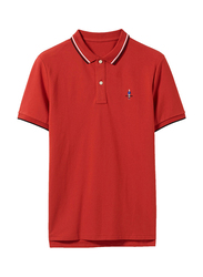 Giordano 2-Button Placket Short Sleeve Classic Embroidery Polo Shirt for Men, Small, Red