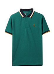 Giordano Short Sleeve Deer Embroidery Polo Shirt for Men, Small, Green