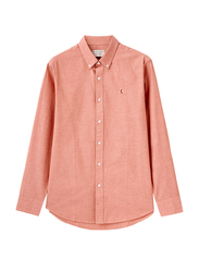 Giordano Oxford Long Sleeve Shirt for Men, Small, Light Red