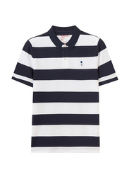 Giordano Short Sleeve Classic Embroidery Stripe Polo Shirt for Men, Small, Navy Blue