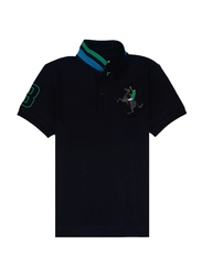 Giordano Short Sleeve 3D Napoleon Polo Shirt for Men, Small, Black