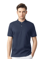 Giordano Luxury Touch Short Sleeve Polo Shirt for Men, Medium, Navy Blue