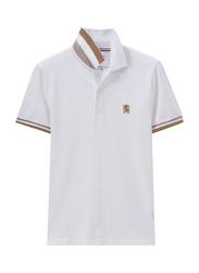 Giordano Small Lion Embroidery Short Sleeve Polo Shirt for Men, Double Extra Large, White