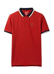 Giordano Deer Polo Shirt for Men, Small, Haute Red