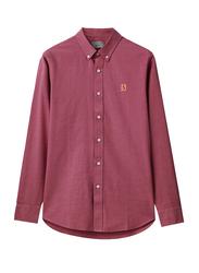 Giordano Oxford Long Sleeve Shirt for Men, Small, Dark Red