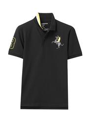 Giordano Short Sleeve 3D Napoleon Polo Shirt for Men, Double Extra Large, Black