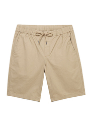 Giordano Slim Fit Elastic Waist Cotton Casual Shorts for Men, Medium, Brown