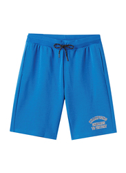 Giordano Elastic Polyester Text Printed Casual Shorts for Men, Extra Large, Blue