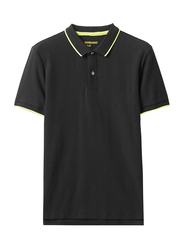 Giordano Contrast Tipping Short Sleeve Polo Shirt for Men, Extra Large, Black/Yellow
