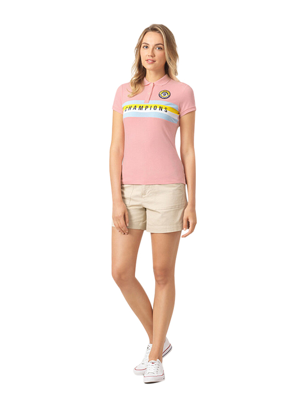 Giordano Short Sleeve Text & Embroidery Printed Polo Shirt for Women, Extra Large, Pink