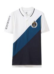 Giordano Napoleon Courage Embroidery Short Sleeve Polo Shirt for Men, Medium, White/Black