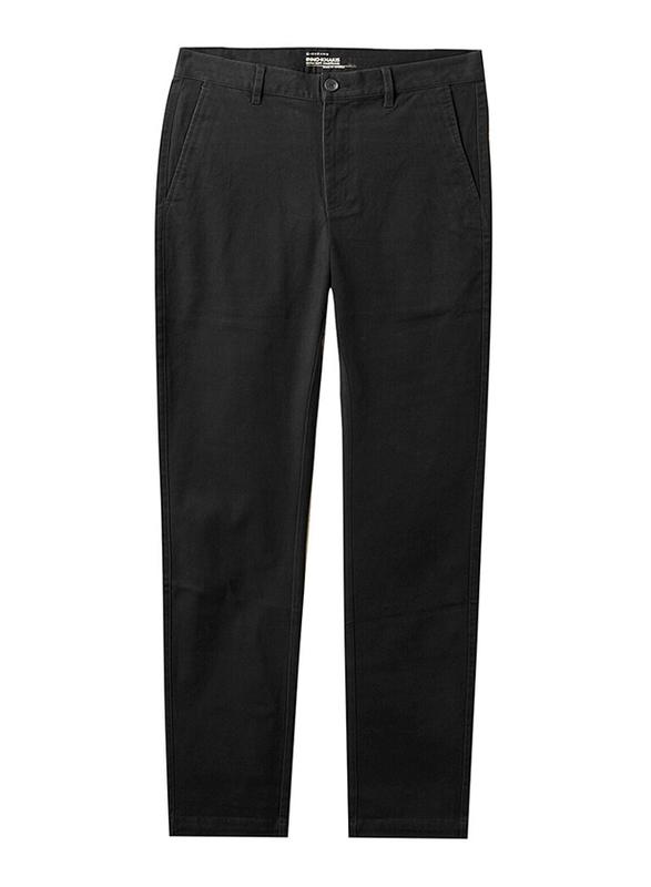 Giordano Twill Regular Tapered Pants for Men, 34 US, Black