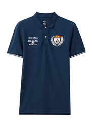 Giordano Napoleon Courage Embroidery Short Sleeve Polo Shirt for Men, Small, Navy Blue