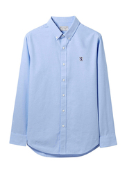 Giordano Oxford Shirt with Small Lion Embroidery for Men, Double Extra Large, Blue