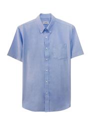 Giordano Wrinkle Free Short Sleeve Shirt for Men, Medium, Dark Blue