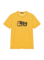 Giordano Short Sleeve Greeting Message T-Shirt for Men, Extra Large, Yellow