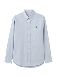 Giordano Oxford Shirt with Small Lion Embroidery for Men, Small, Light Blue