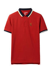 Giordano Short Sleeve Deer Embroidery Polo Shirt for Men, Small, Red