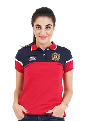 Giordano Short Sleeve Bold Embroidery Printed Polo Shirt for Women, Small, Red/Blue
