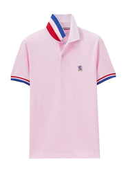 Giordano Small Lion Embroidery Short Sleeve Polo Shirt for Men, Double Extra Large, Light Pink