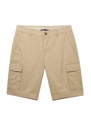 Giordano Slim Fit Twill Low Rise Cargo Shorts for Men, 32 US, Brown