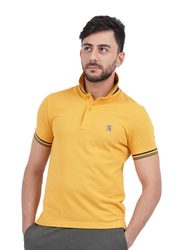 Giordano Small Lion Embroidery Short Sleeve Polo Shirt for Men, Double Extra Large, Yellow