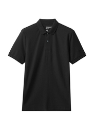 Giordano Contrast Tipping Short Sleeve Polo Shirt for Men, Extra Large, Black