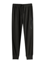 Giordano Zip Pocket Slim Joggers for Men, Medium, Black