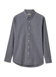 Giordano Oxford Long Sleeve Shirt for Men, Small, Grey