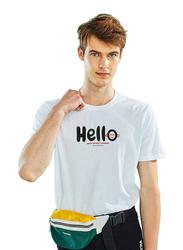 Giordano Short Sleeve Greeting Message T-Shirt for Men, Large, White