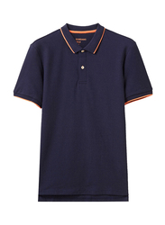 Giordano Contrast Tipping Short Sleeve Polo Shirt for Men, Extra Large, Navy Blue