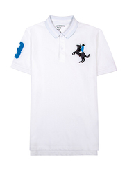 Giordano Short Sleeve 3D Napoleon Polo Shirt for Men, Double Extra Large, White