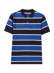 Giordano Short Sleeve Classic Embroidery Horizontal Stripe Polo Shirt for Men, Medium, Blue