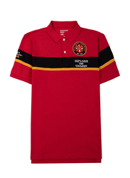 Giordano Short Sleeve Contrast Short Sleeve Polo Shirt for Men, Extra Large, Red