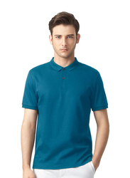 Giordano Luxury Touch Short Sleeve Polo Shirt for Men, Medium, Blue