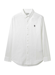 Giordano Oxford Shirt with Small Lion Embroidery for Men, Double Extra Large, White