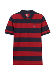 Giordano Short Sleeve Classic Embroidery Stripe Polo Shirt for Men, Medium, Red