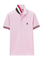 Giordano Small Lion Polo Shirt for Men, Large, Pink/Red
