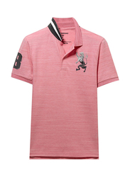 Giordano 3D Lion Multi-color Embroidery Short Sleeve Polo Shirt for Men, Double Extra Large, Pink