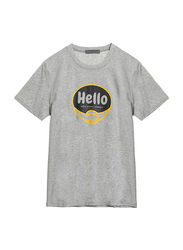 Giordano Short Sleeve Greeting Message T-Shirt for Men, Extra Large, Grey