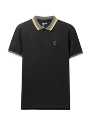 Giordano Short Sleeve Deer Embroidery Polo Shirt for Men, Small, Black