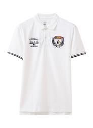 Giordano Napoleon Courage Embroidery Short Sleeve Polo Shirt for Men, Small, White