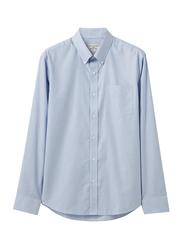 Giordano Wrinkle Free Stripe Long Sleeve Shirt for Men, Small, Blue/White