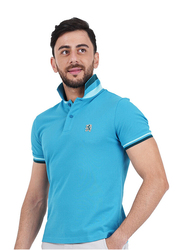 Giordano Small Lion Embroidery Short Sleeve Polo Shirt for Men, Double Extra Large, Dark Blue